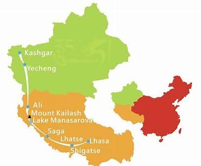 Tibet Tour Kailash Mount Xinjiang Map Kashgar