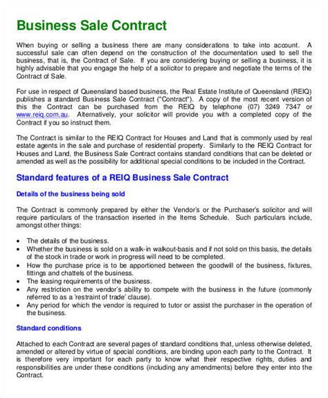 Selling A Business Contract Template Free by Business Contract Template 7 Free Word Pdf Documents