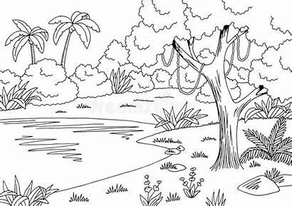 Jungle Lake Sketch Landscape Vector Illustration Graphic