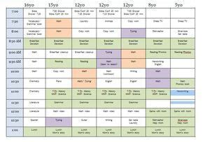 sample homeschool schedule  multiple children