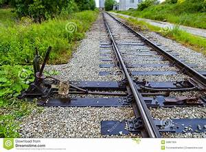 Manual Railroad Switch On Old Plant Stock Photo