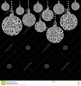 Noel Noir Et Blanc : beau fond noir et blanc de no l avec accrocher de boules de no l grand pour des cartes de voeux ~ Melissatoandfro.com Idées de Décoration
