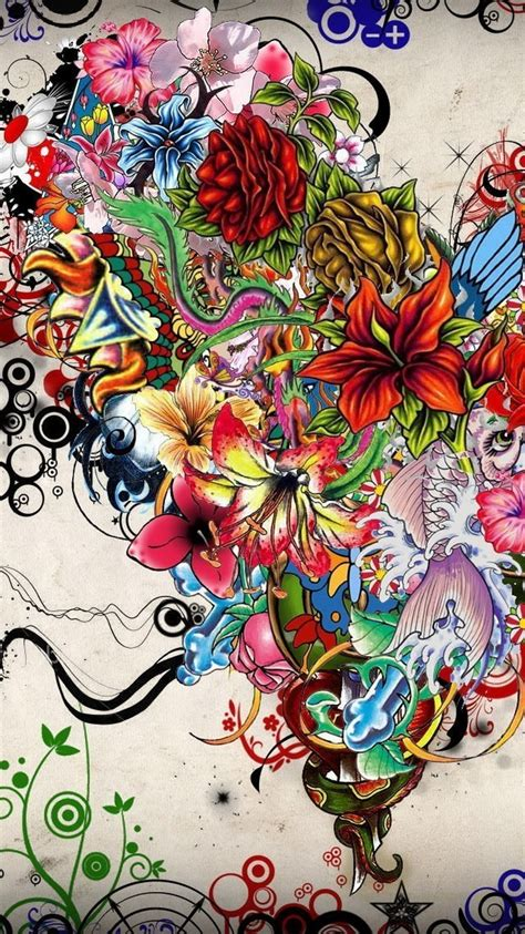 abstract flowers tattoo illustration iphone  wallpaper