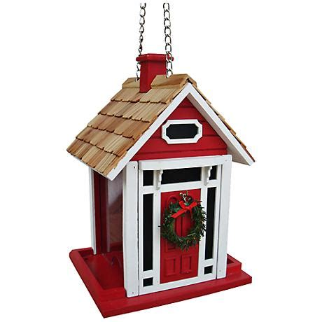 christmas cottage red bird feeder 7c919 ls plus