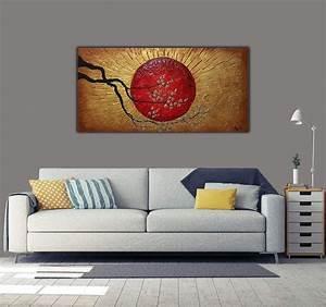 Tableau Peinture Sur Toile : tableau peinture abstraite soleil d 39 or artwall and co ~ Teatrodelosmanantiales.com Idées de Décoration