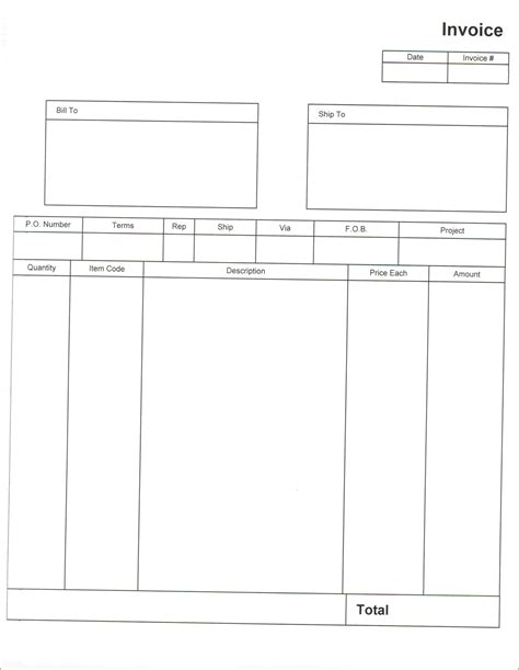 blank invoice template  authorizationlettersorg
