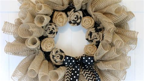 deco mesh  burlap wreath diy home