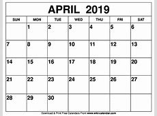 2019 calendar april 2019 2018 Calendar Printable with
