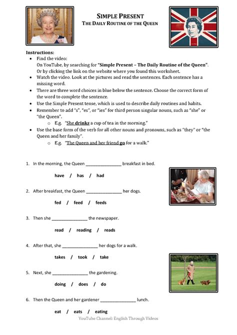 worksheet daily routine   queen simple present