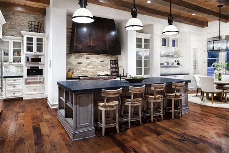 kitchen island with seating for 5 creating a fusion of classical and modern design styles in