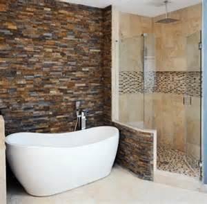 kitchen renos ideas bathroom brick wall and stand alone tub
