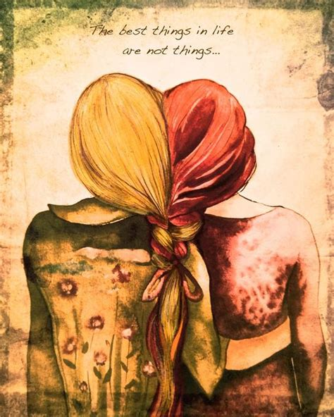 red andblond hair sister  friend art print