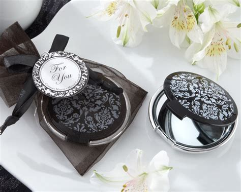my wedding favors black and white damask compact mirror bridal shower favor my wedding favors