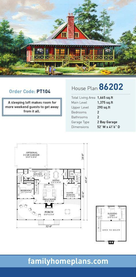 Southern Style House Plan 86202 with 2 Bed 2 Bath 2