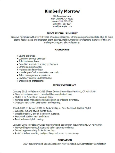 Hairdressers Resume by Salon Spa Fitness Resume Templates To Impress Any
