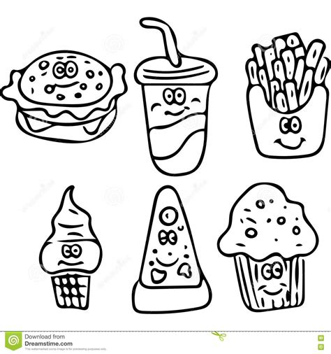 cuisine color unhealthy food with faces coloring pages unhealthy best
