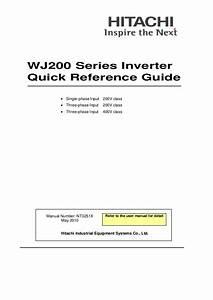 Hitachi Wj200 Series Inverter Quick Reference Guide