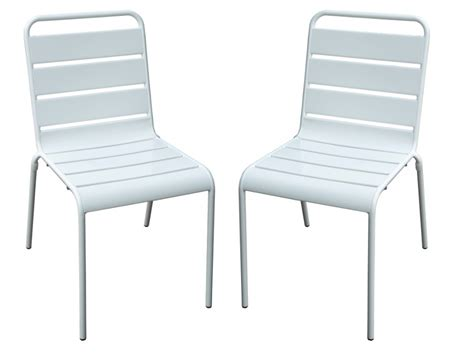 lot de chaise de jardin lot de 2 chaises de jardin en métal blanc marcala