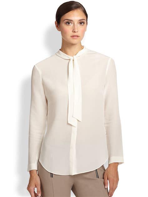 silk tie neck blouse piazza sempione silk tie neck blouse in white white