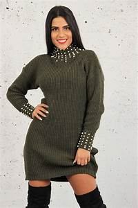 robe pull col montant a perles brentiny paris With robe pull noire