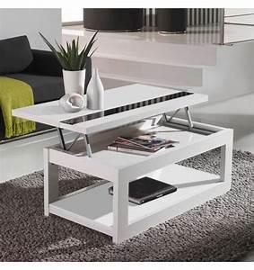 Table Basse Relevable Blanche : table basse relevable laqu e blanche 110 cm deco et saveurs ~ Teatrodelosmanantiales.com Idées de Décoration