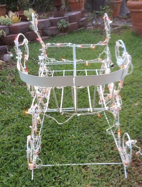 outdoor lighted christmas yard decorations vintage sleigh