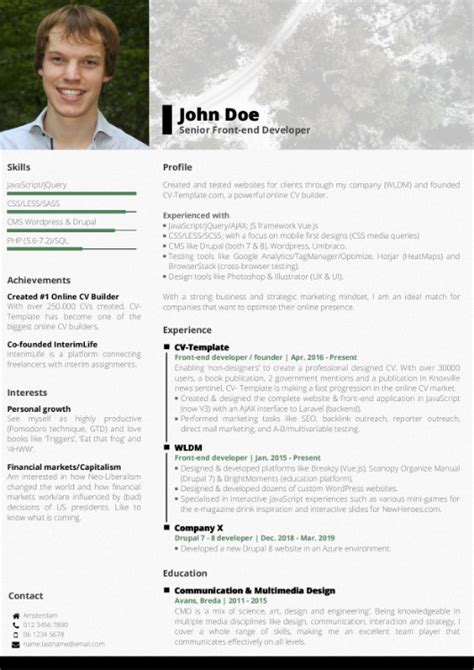 Create Cv Template by Choose Your Cv Template Free Cv Builder