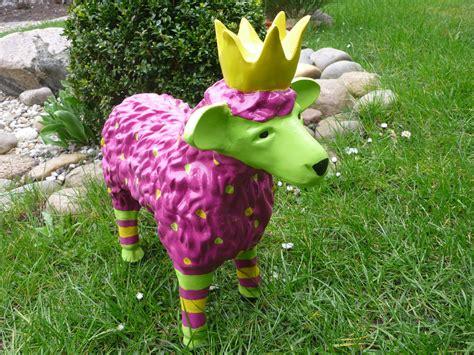 Garten Figur Lustiges Buntes Schaf Lamm M Krone Deko Tier