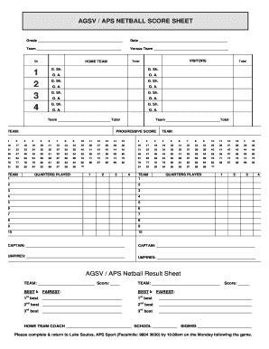 netball score sheet fill printable fillable