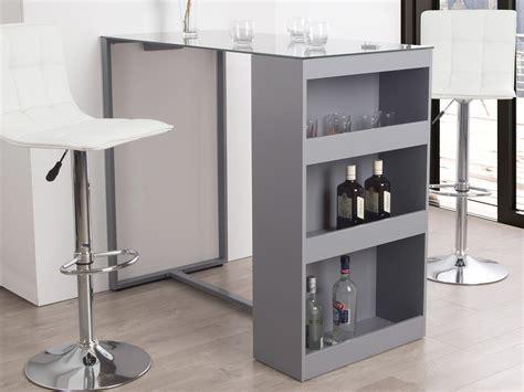 table de bar table de bar avec rangement et plateau en verre tremp 233 h 105cm tetris gris