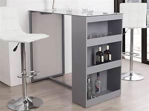 Table Bar Avec Rangement : table de bar avec rangement et plateau en verre tremp tetris gris ~ Teatrodelosmanantiales.com Idées de Décoration