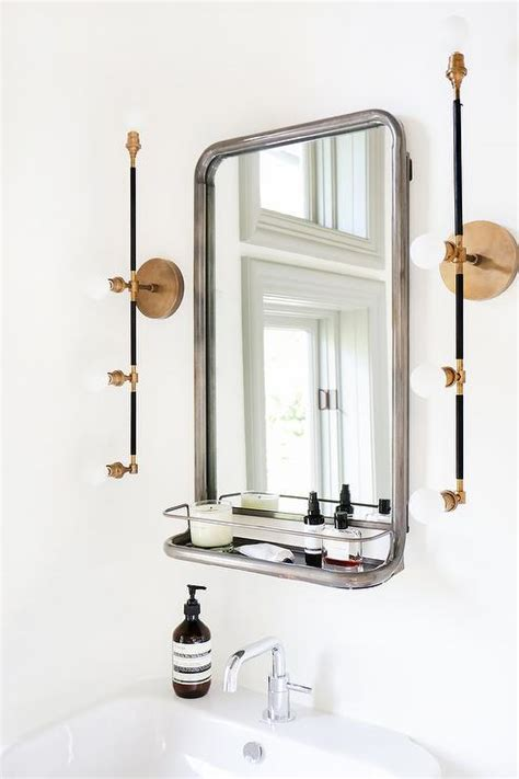 modern bathroom features a restoration hardware astoria