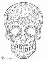 Skull Coloring Sugar Skulls Pages Printable Dead Adult Sheets Easy Colouring Muertos Drawing Pdf Template Mandala Los Activities Drawings Woojr sketch template
