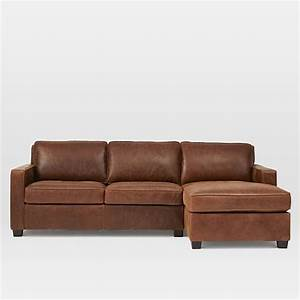 Henryr leather 2 piece chaise sectional molasses west elm for Henry leather sectional sofa