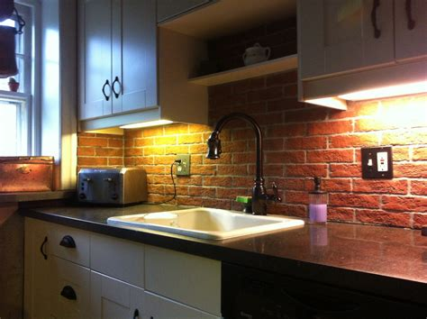 Narrow Kitchen Spaces Decoration Ideas With Red Brick