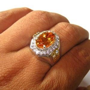 cincin perak dengan batu citrine asli ukuran ring 9us