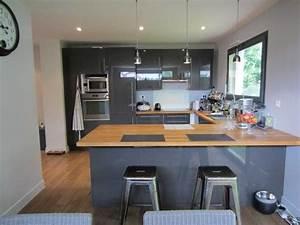 charmant cuisine grise et bois et cuisine design sans With cuisine gris et bois