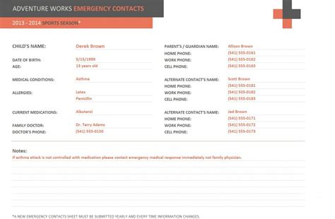 emergency contact template emergency contact form template emergency contact template