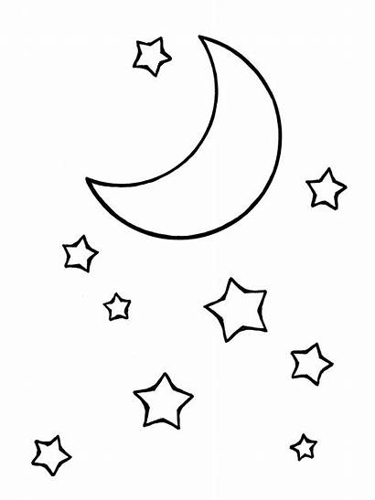 Moon Drawing Stars Line Star Coloring Crescent