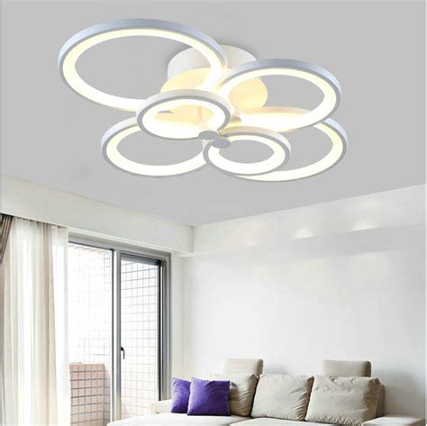 modern creative white color led ceiling l living room