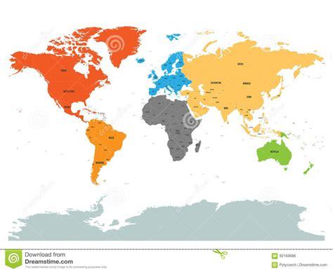 Politisk översikt Av Världen Med Antarktis Kontinenter I ...
