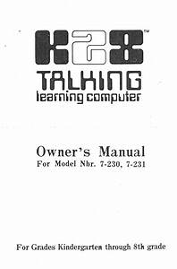 K28 Talking Learning Computer 7-230 Manuals
