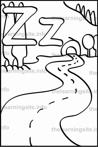 Zigzag Coloring Outline Letter Flashcard Simple Sample