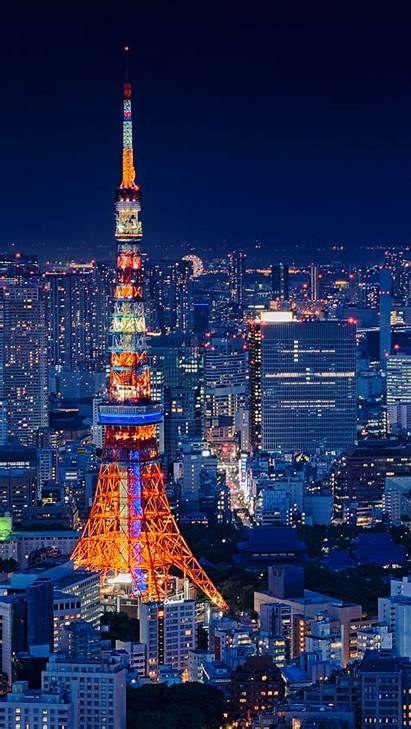 4k Tokyo Japan Night Mobile Tower Cityscape