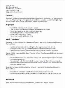 professional college admissions representative templates With college admission resume template