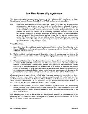 Editable law firm partnership agreement sample - Fill
