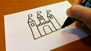Very Easy ! How to Draw a Castle - art on paper for kids ...