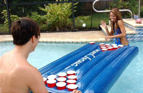 inflatable floating beer pong table chugbuzz