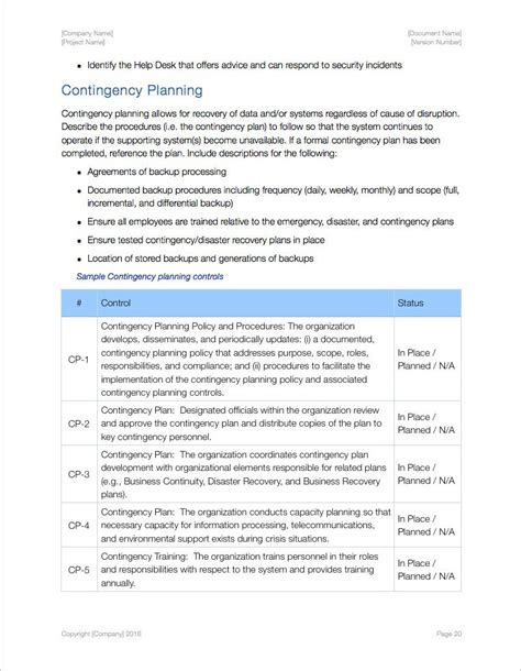 contingency operations plan template security plan template apple iwork pages numbers