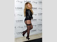 Mariah Carey hits the town in a corset and garter belt in